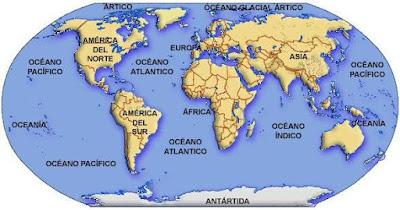 Dibujo a una parte del globo terráneo donde muestra los océanos