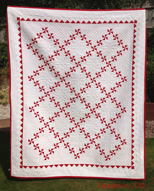Red and White Pinwheel Quilt - Hand Pieced, Hand Quilted