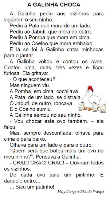 Texto A GALINHA CHOCA, de Mary França e Eliardo França