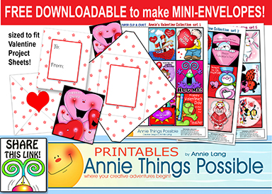Get Annie Lang's FREE mini envelope project to fit Paper Clip and Craft card project sheets