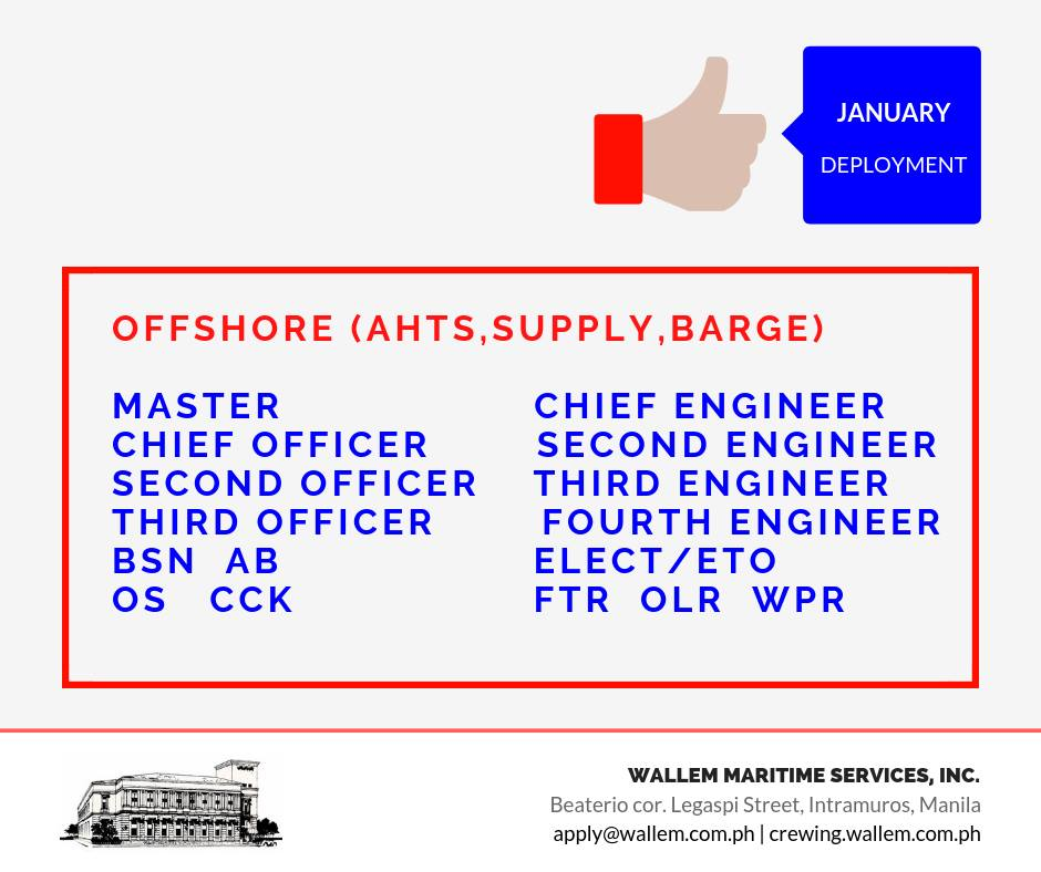Hiring Crew For AHTS, Supply, Barge, Bulk Carrier, LPG, Oil Chemical