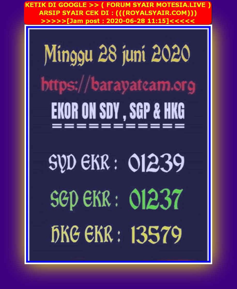 Kode syair Singapore Minggu 28 Juni 2020 133