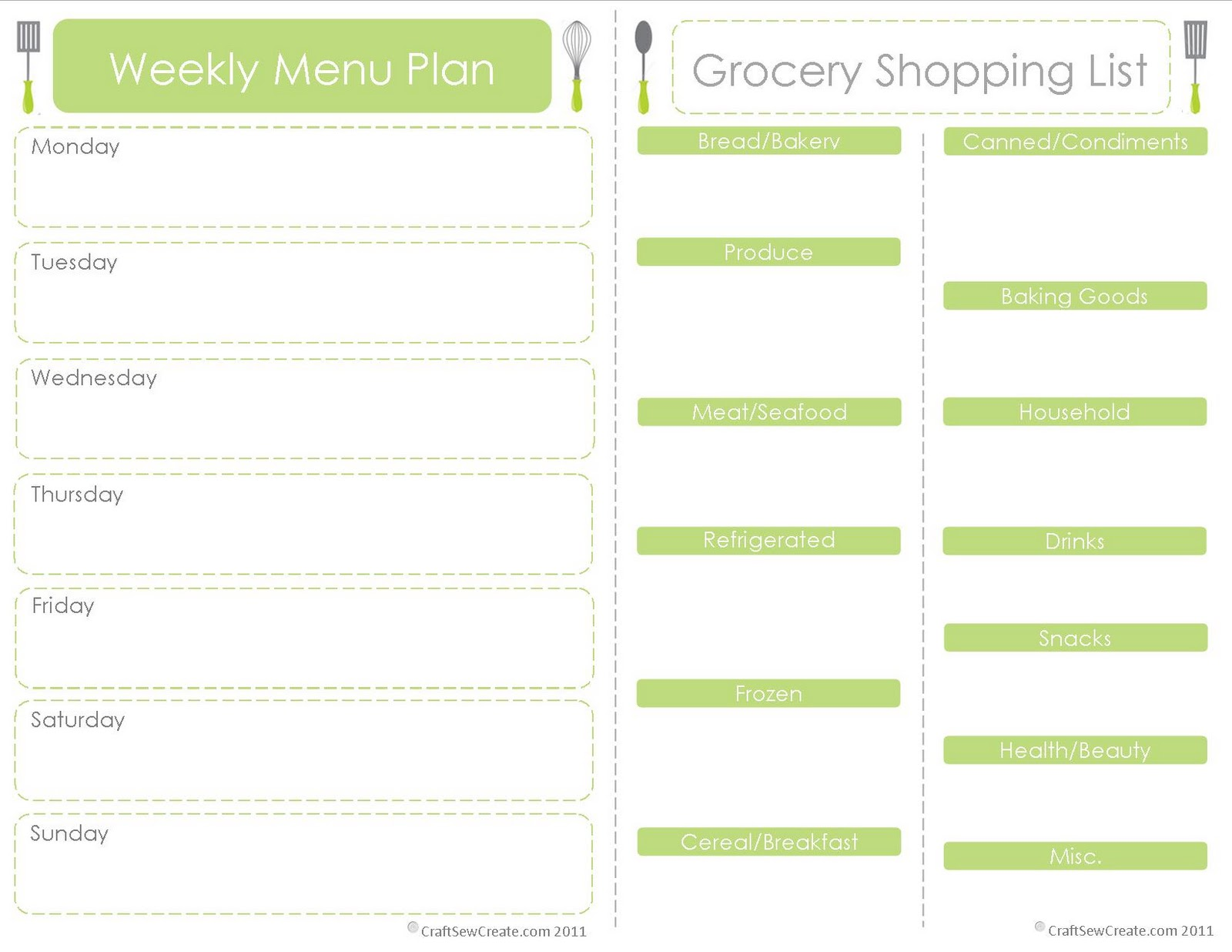 Craft Sew Create: FREE Printable Menu Plan + Shopping List  Craft Sew Creat...