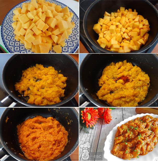 paso a paso Cuarrécano o calabaza frita con ajo, orégano y pimentón