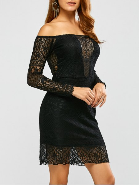 Off Shoulder Long Sleeve Lace Dress