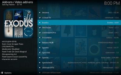Search and locate Exodus Kodi Addon