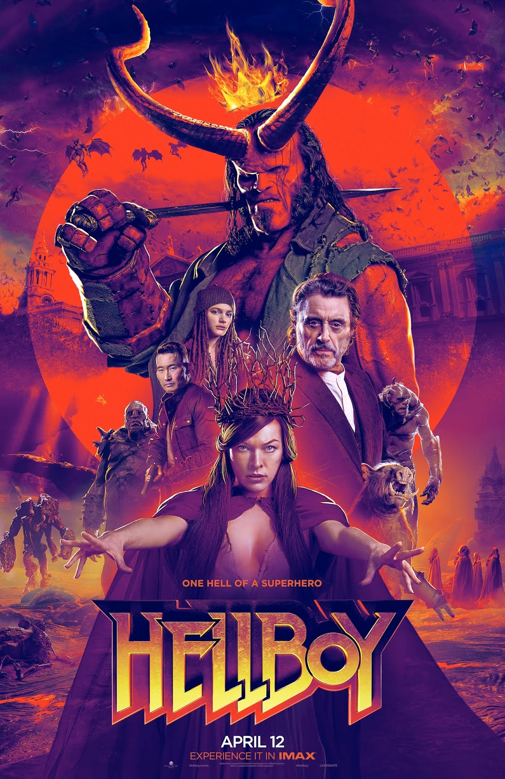 Directed by Neil Marshall. the Hellboy reboot movie hits theaters on April 12.