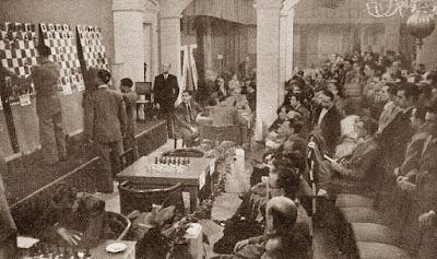 Sala de juego del Torneo Internacional de Barcelona de 1946