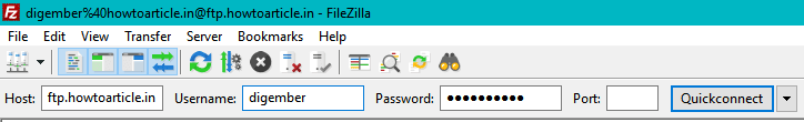 login to ftp account