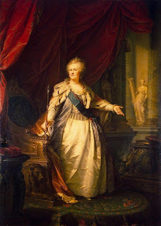 Portrait of the Empress Catherine II of Russia, called Catherine the Great. The portrait was painted by by Johann Baptist von Lampi the Elder, circa 1792.