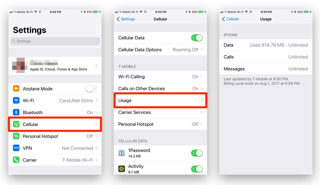 How To Check Your Monthly Cellular Data Usage In iOS 11