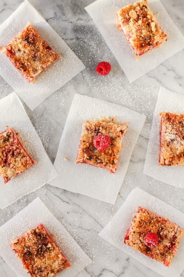 Celebrate spring with these delicious Raspberry Crumb Bars! This easy to make dessert has a buttery crust and topping, with plenty of fresh raspberries in between, and gets finished off with a dusting of powdered sugar. Dessert perfection!