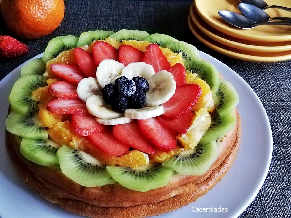 Tarta de frutas fácil y rápida