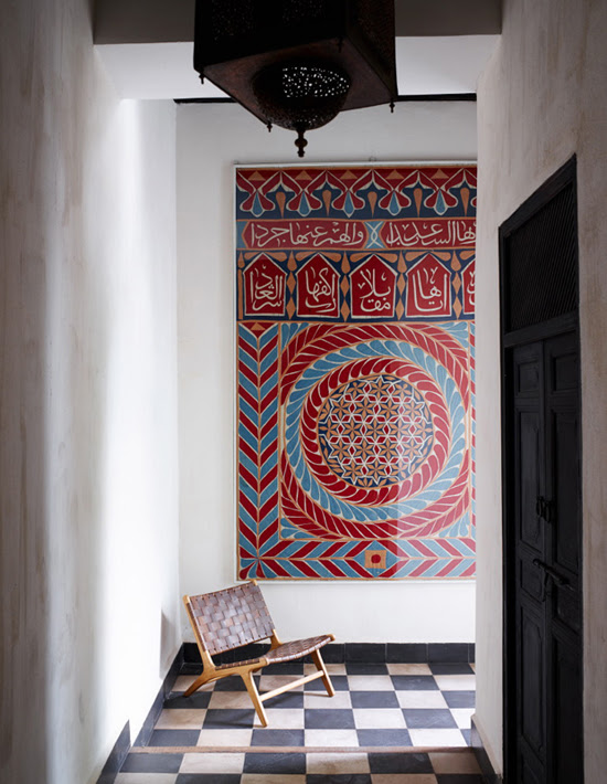 Safari Fusion blog | Colour crush: Red | Hallway artwork, Riad Mena Marrakech, Morocco
