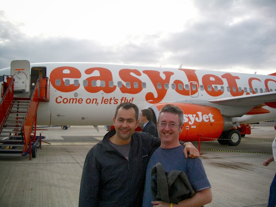Stags next to an Easyjet plane going to Bratislava