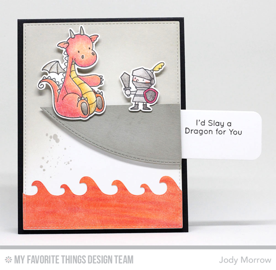 Handmade card from Jody Morrow featuring Distressed Patterns stamp set, Birdie Brown Magical Dragons stamp set and Die-namics, Slider Channel Builder, Making Waves, Stitched Valley, and Blueprints 13 Die-namics #mftstamps