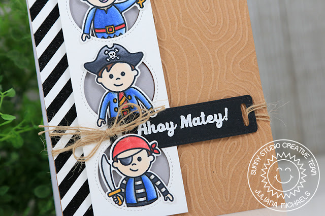 Sunny Studio Stamps: Background Basics Pirate Pals Window Trio Circle Dies Hello Card by Juliana Michaels