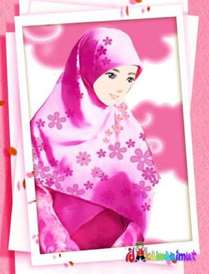 kartun muslimah cantik berhijab merah muda