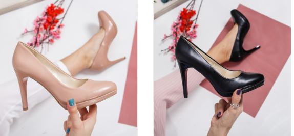 Pantofi negri, bej cu toc inalt si platforma ieftini din piele eco