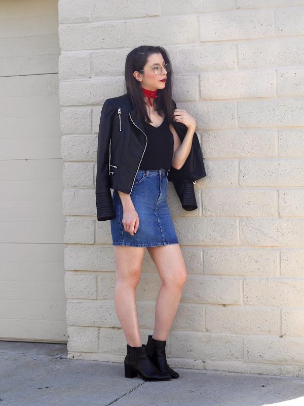 1960be1036 Jacket - Zara (Similar here)   Cami - H M (Similar here)   Denim Skirt -  Topshop (Similar here