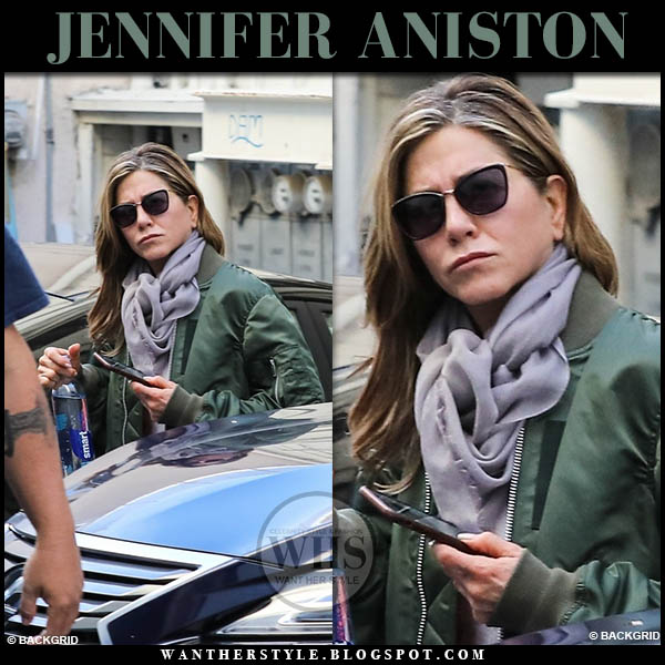 Jennifer Aniston in green satin unravel bomber jacket and sunglasses casual street fashion january 19