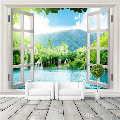 fönster tapet 3d effekt natur fototapet landskap utsikt fondtapet