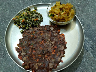 Finger millet Veg roti, Radish curry, Beans poriyal