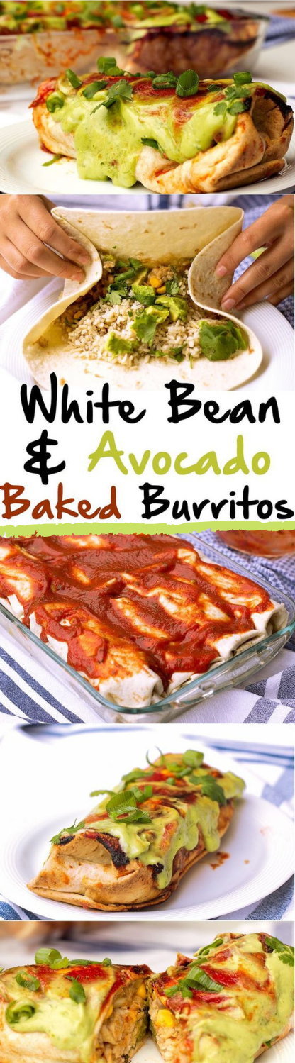 WHITE BEAN AND AVOCADO BAKED BURRITOS #healthydiet #eating