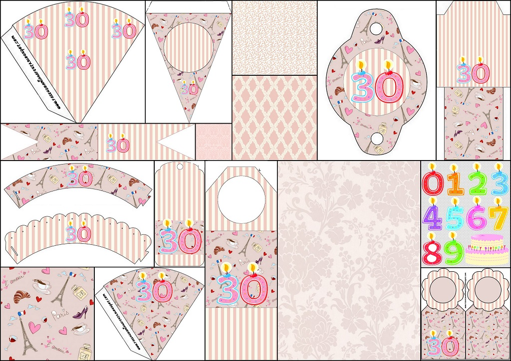 30th birthday free party printables oh my fiesta for ladies. Black Bedroom Furniture Sets. Home Design Ideas