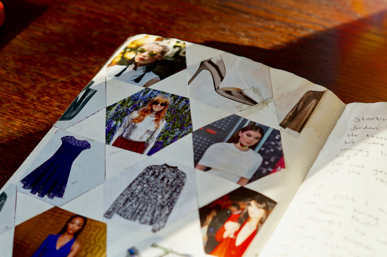 fashion snippets in a journal
