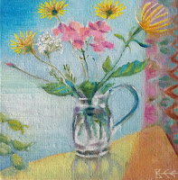flower painting, still life, window art, Bee Skelton artist, hydrangea, wildflowers,
