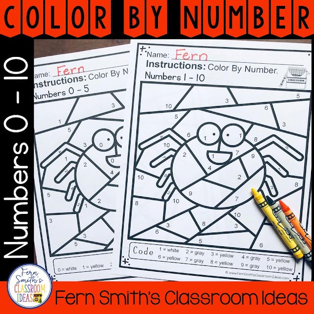 Halloween Color By Numbers for Numbers 0-10  Your students will adore this Halloween Spider Color By Numbers worksheets while learning and reviewing important 0 - 5 AND 0 - 10 numbers skills at the same time! You will love the no prep, print and go ease of these two printables. As always, answer keys are included.
