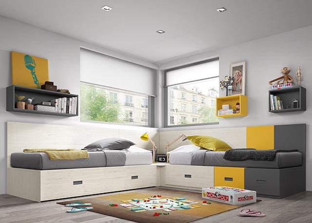 Dormitorio juvenil modular 1456 - Habitaciones infantiles de dos camas ...