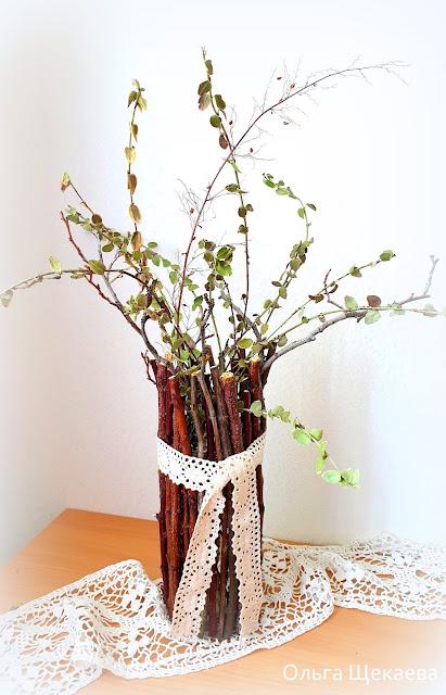 ваза, из, веток, декор,