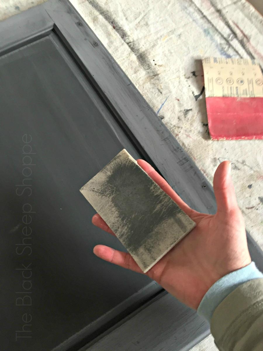 Sanding dust trapped inside a sanding sponge.