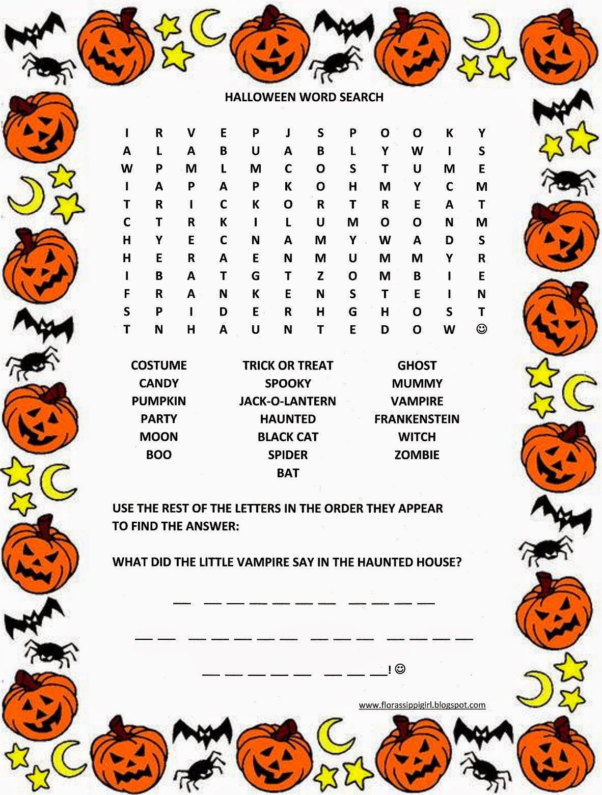Florassippi Girl Halloween Word Search