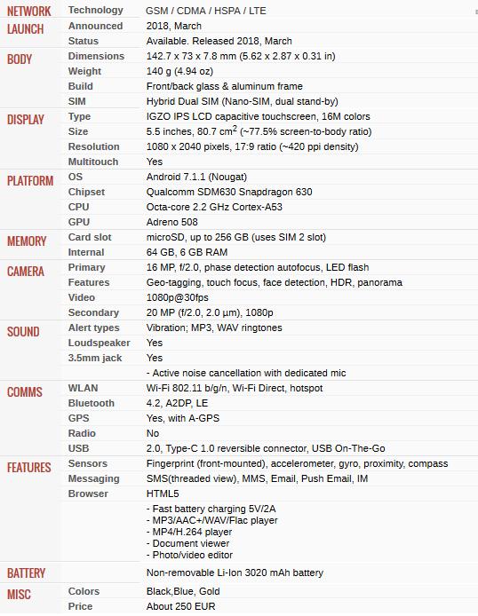Spesifikasi SHARP Aquos S3 Mini