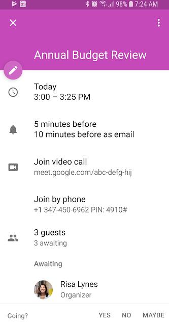 Hubungi ruang rapat via nomor telepon yang tertera di Google Calendar