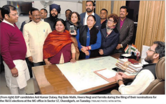 BJP candidates Anil Dubey, Raj Bala Malik, Heera Negi and Farmila during the filing of their nominations for the F&CC elections at the MC Office in Sector 17, Chandigarh, alongwith Ex-MP Satya Pal Jain, MP Kirron Kher & Mayor Davesh Moudgil