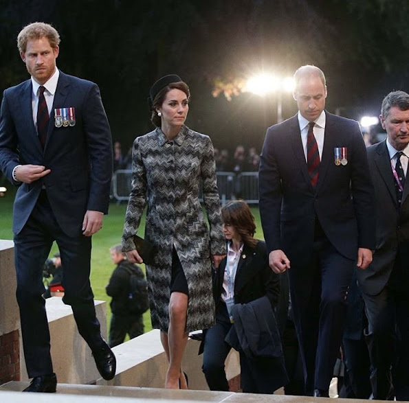 Kate Middleton wore the Missoni Long Snake Stitch Coat. Duchess Catherine, Prince William and Prince Harry