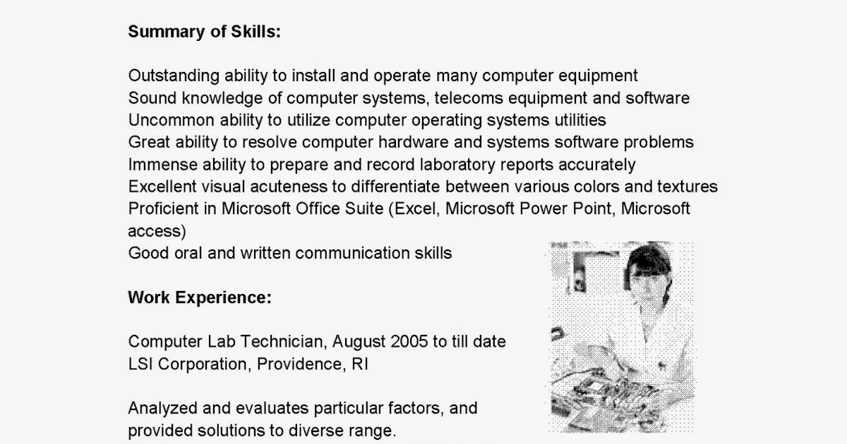 Resume Samples Computer Lab Technician Resume Sample