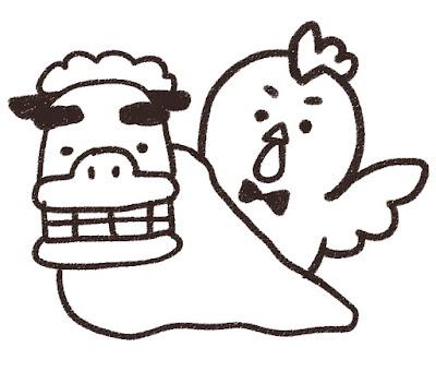 獅子舞とニワトリのイラスト(酉年・白黒線画)
