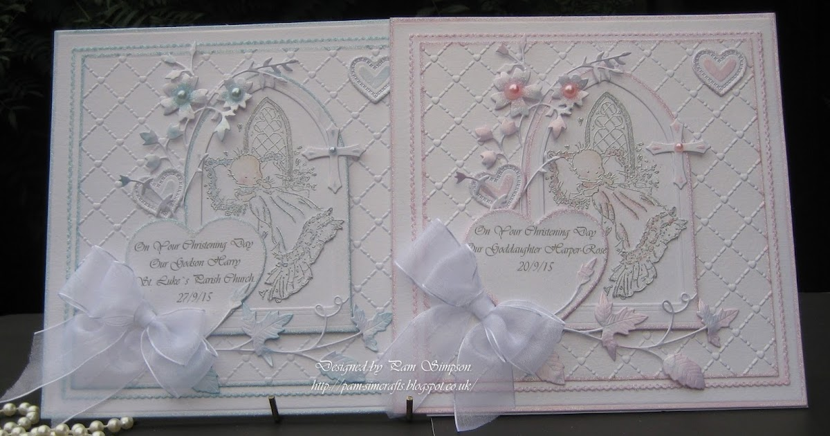 Pamscrafts Two Christening Cards From Godparents