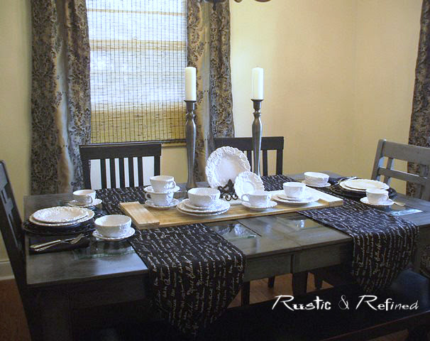 Dining room decor and table decorated with italian dishes