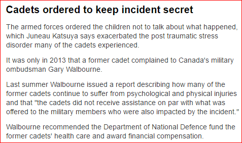 The Canadian Forces and victim shaming.