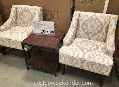 Furnish your home with the elegant Home Pop 3-piece Fabric Chair and Accent Table Set
