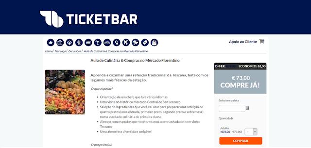 Ticketbar para ingressos para aula de culinária e compras no mercado florentino