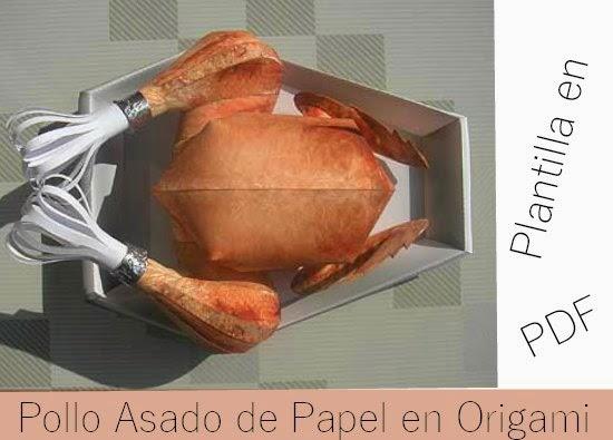 plantilla pollo asado en origami