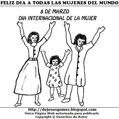 Dibujo al Día Internacional de la mujer para colorear, pintar e imprimir. Dibujo del Día Internacional de la mujer de Jesus Gómez