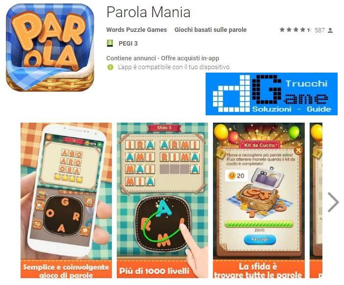 Soluzioni Parola Mania | Screenshot Livelli con Risposte